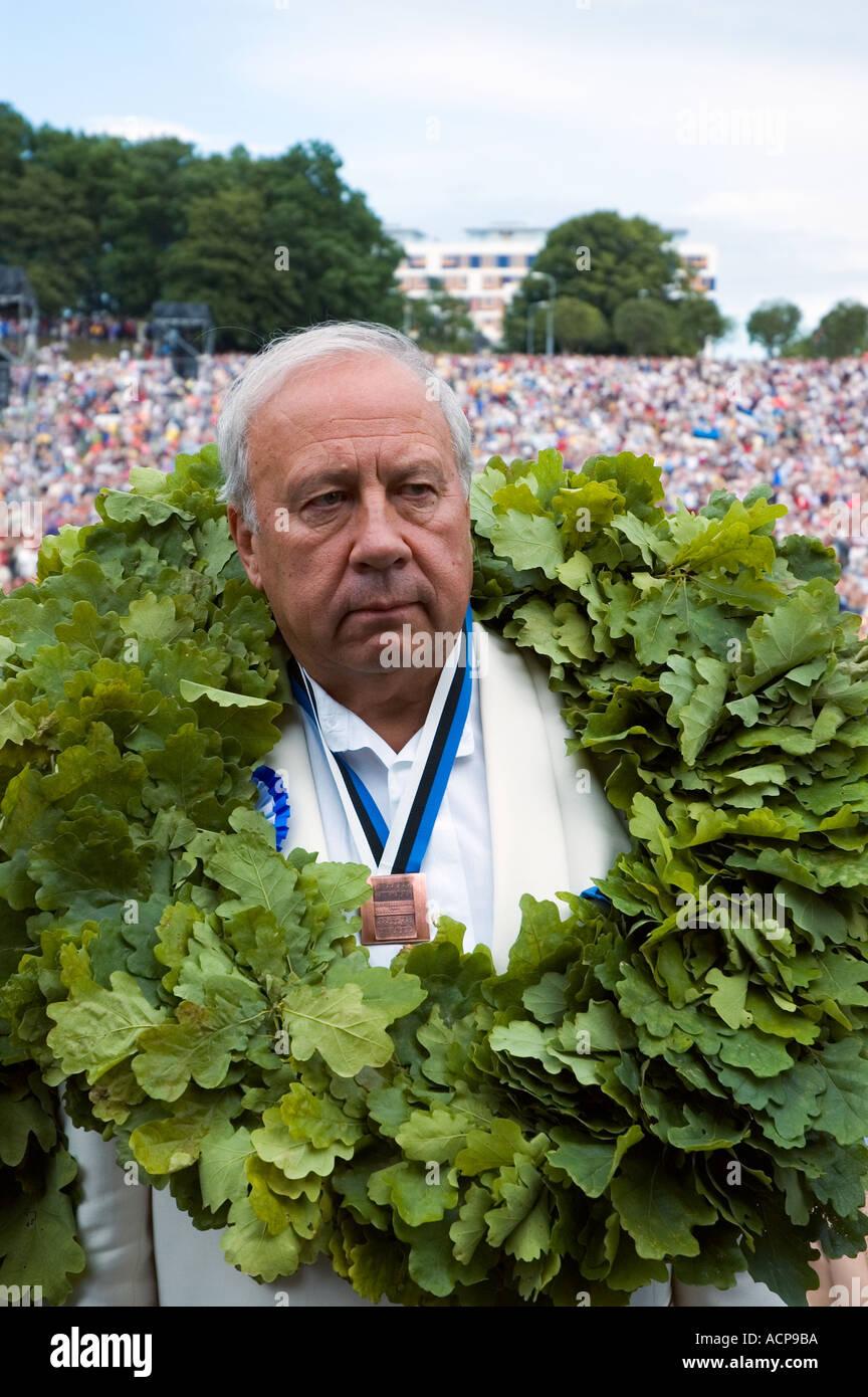conductor Neeme Jarvi Järvi traditional song festival Tallinn Estonia - Stock Image