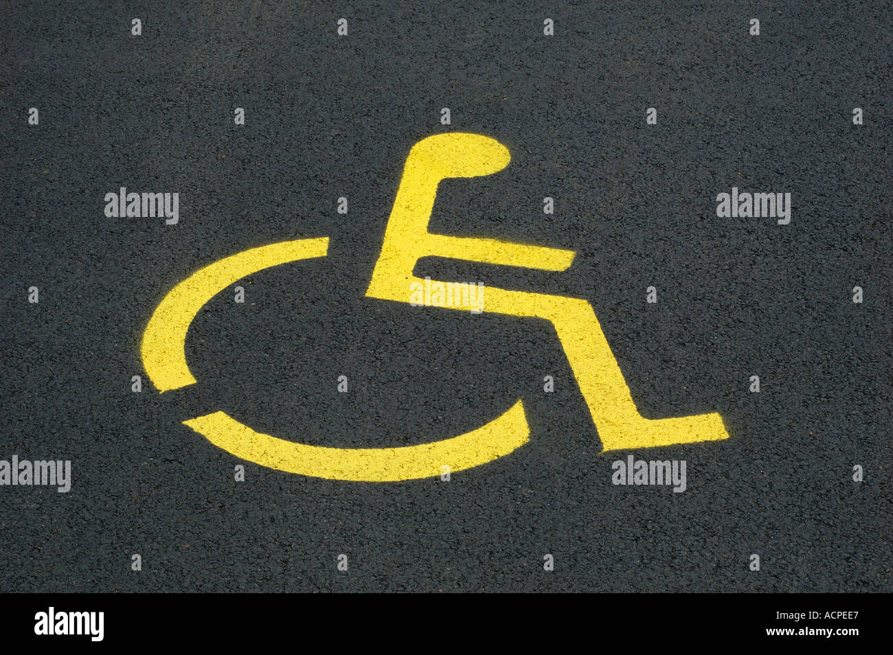 handicapped parking spot painted parking space for handicap people persons in a parking bay - Stock Image