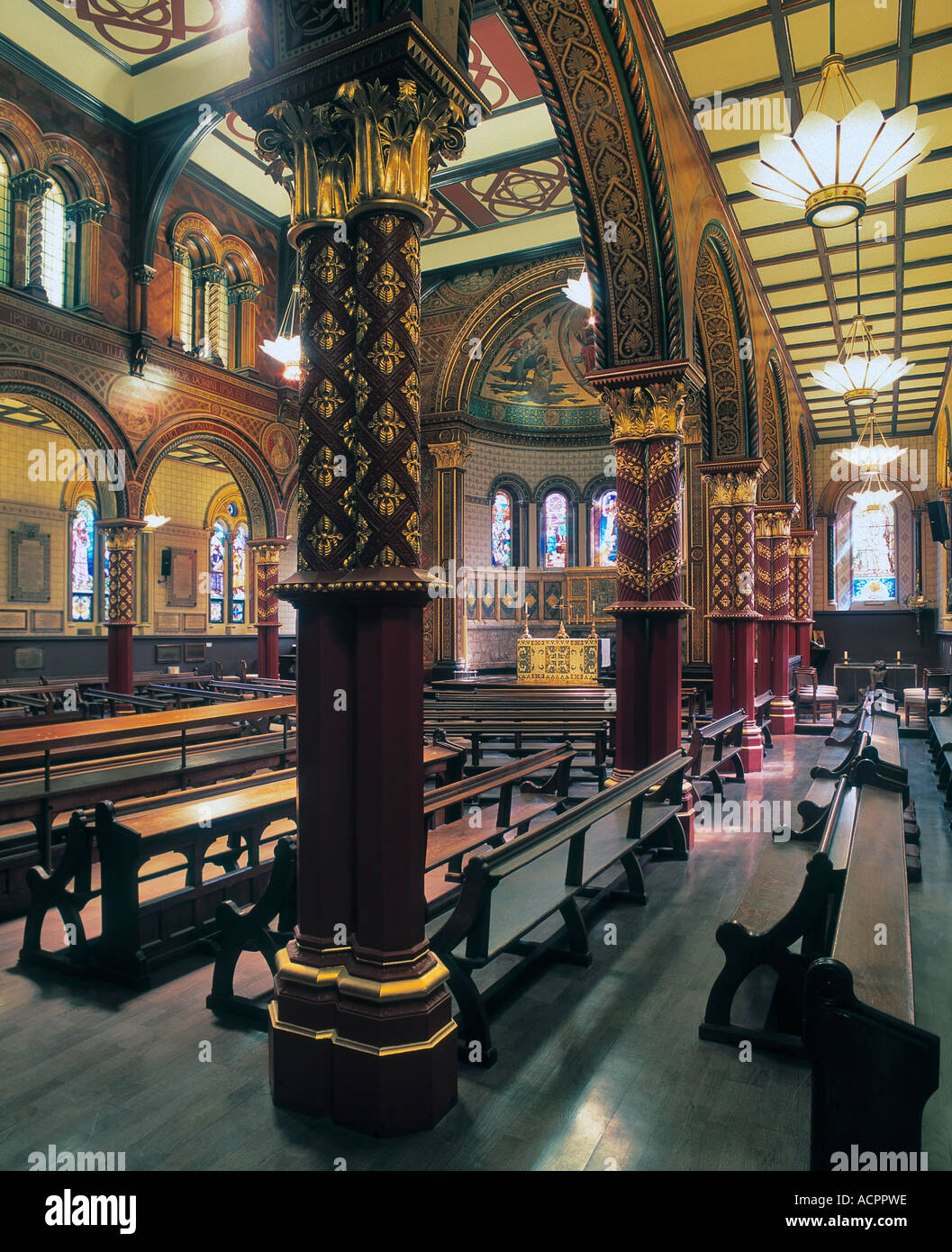 Byzantine interior of the Strand Chapel at Kings College London by George Gilbert Scott. Stock Photo
