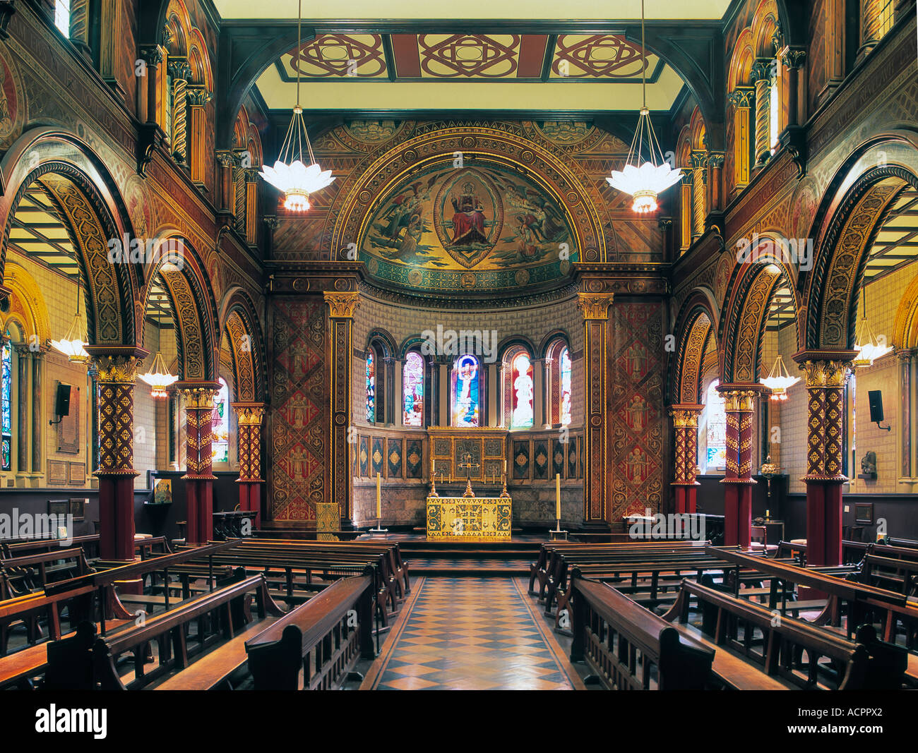 Byzantine interior of the Strand Chapel at Kings College London by George Gilbert Scott Stock Photo
