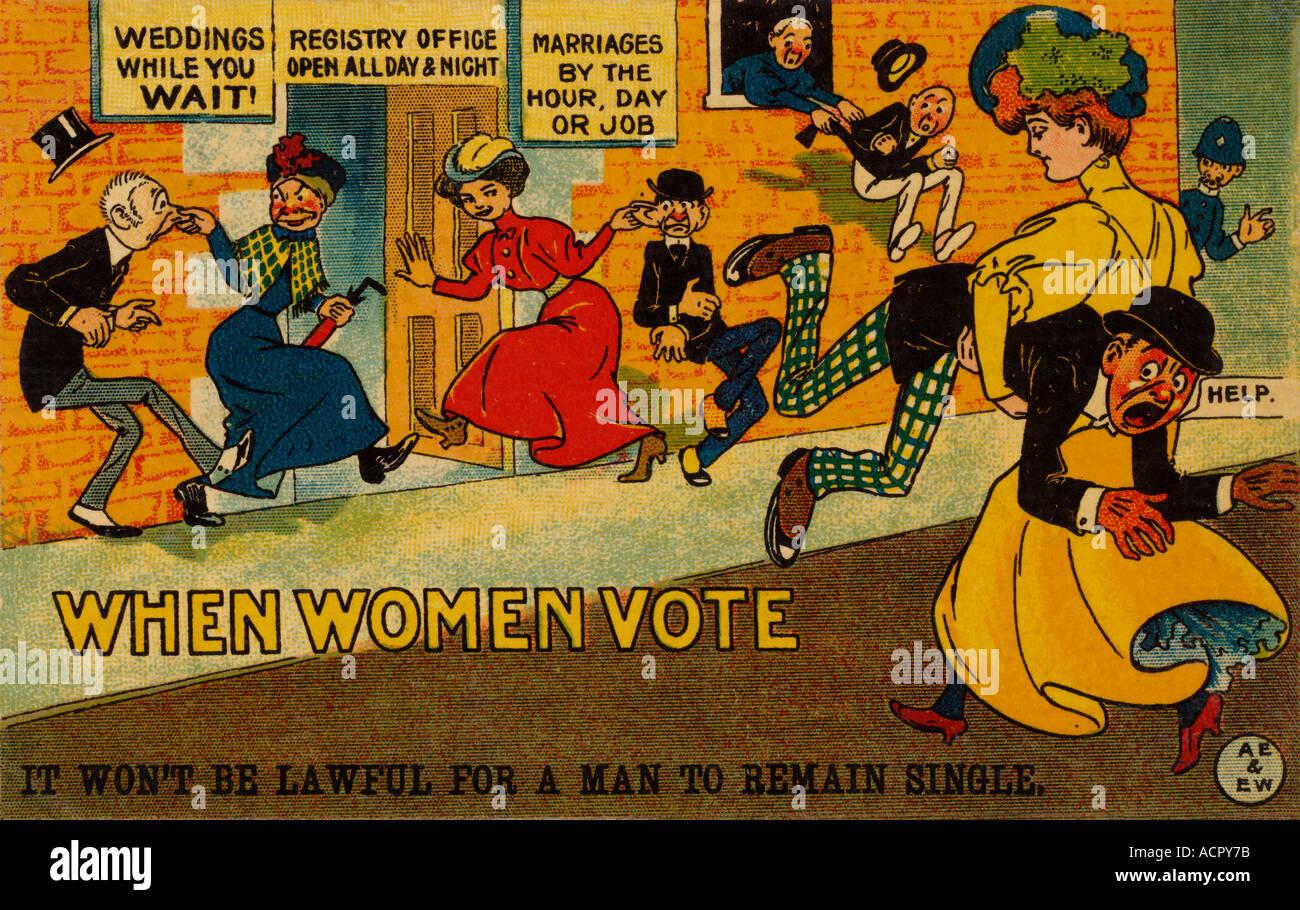 Satirical British propaganda anti-suffragette postcard card dated 1910 opposing womens suffrage 'When women vote' , right to vote, marriage, U.K. - Stock Image