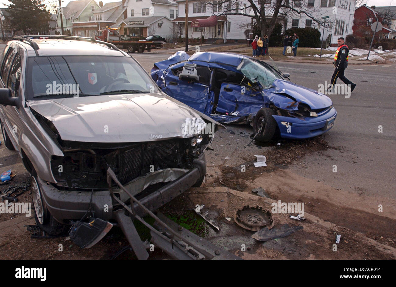 Car crash, vehicles after car accident after a man with a seizure