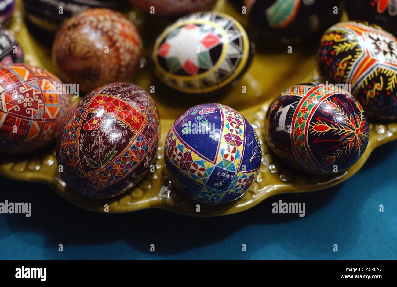 Ukrainian pysanka eggs easter eggs - Stock Image