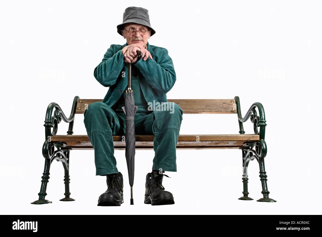 Old Man Sitting On Bench Stock Photo 7549867 Alamy