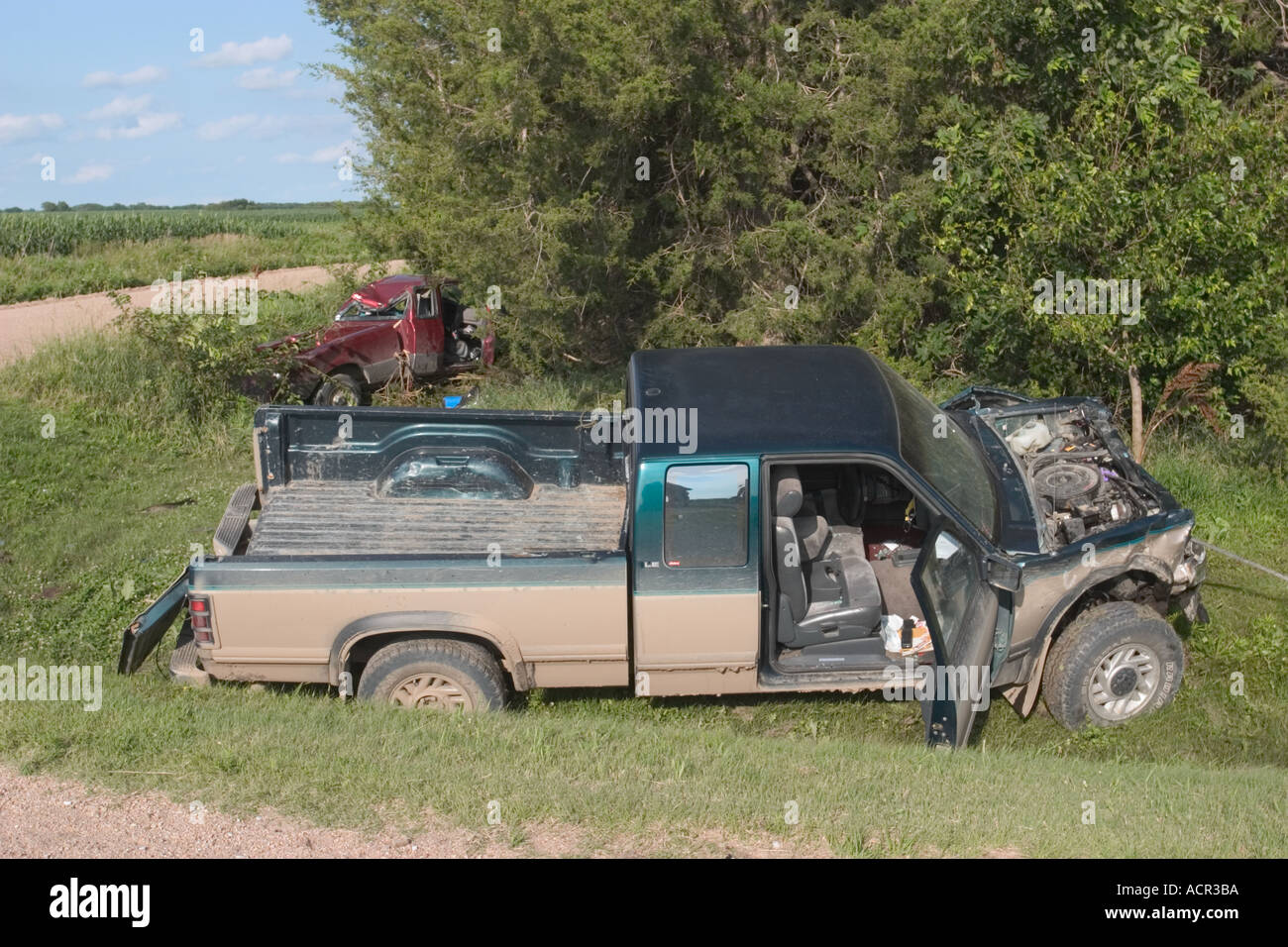 Fatality traffic accident in rural area  Rural Saline County Stock