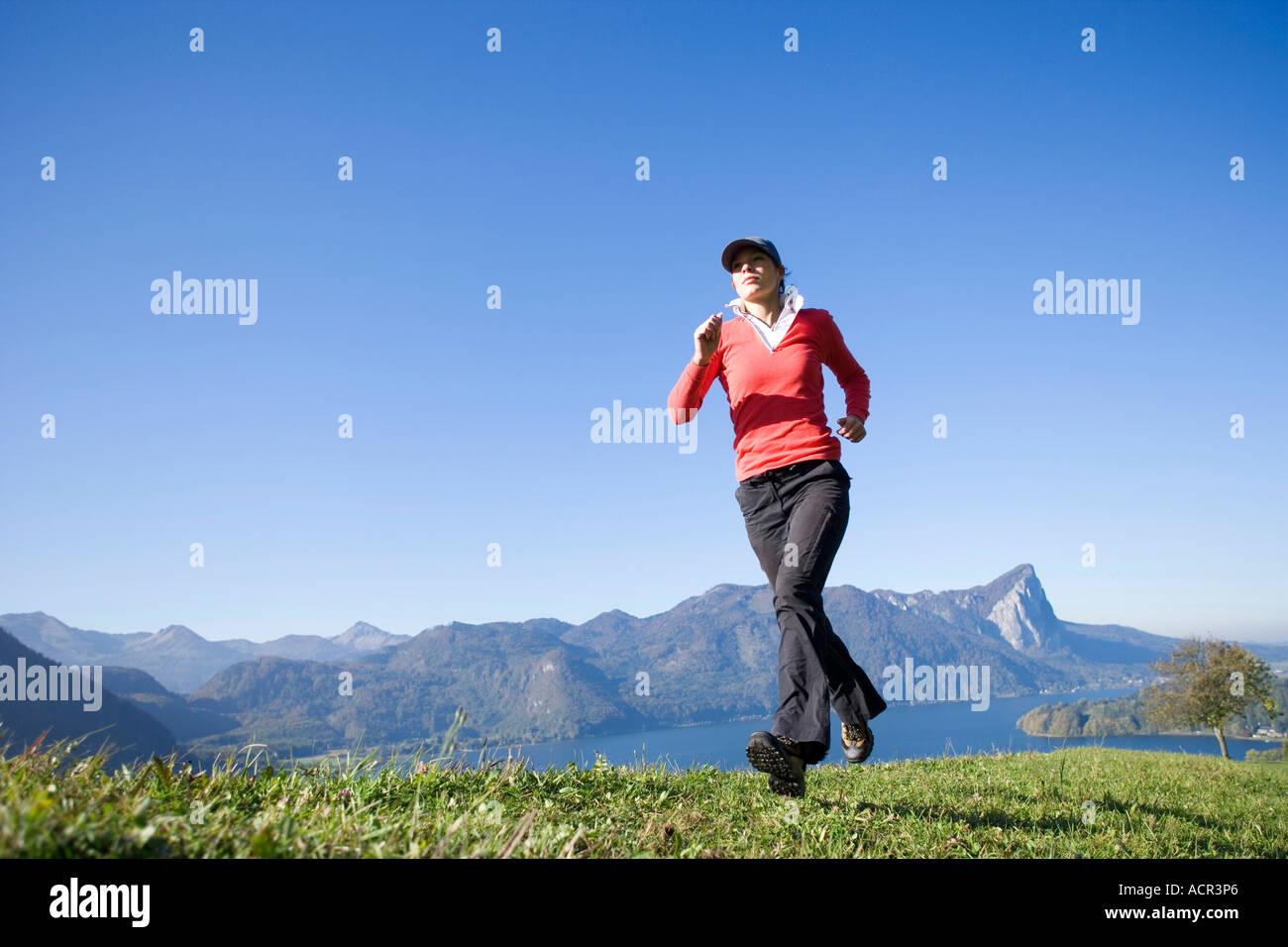 Woman jogging, outdoor, Austria - Stock Image