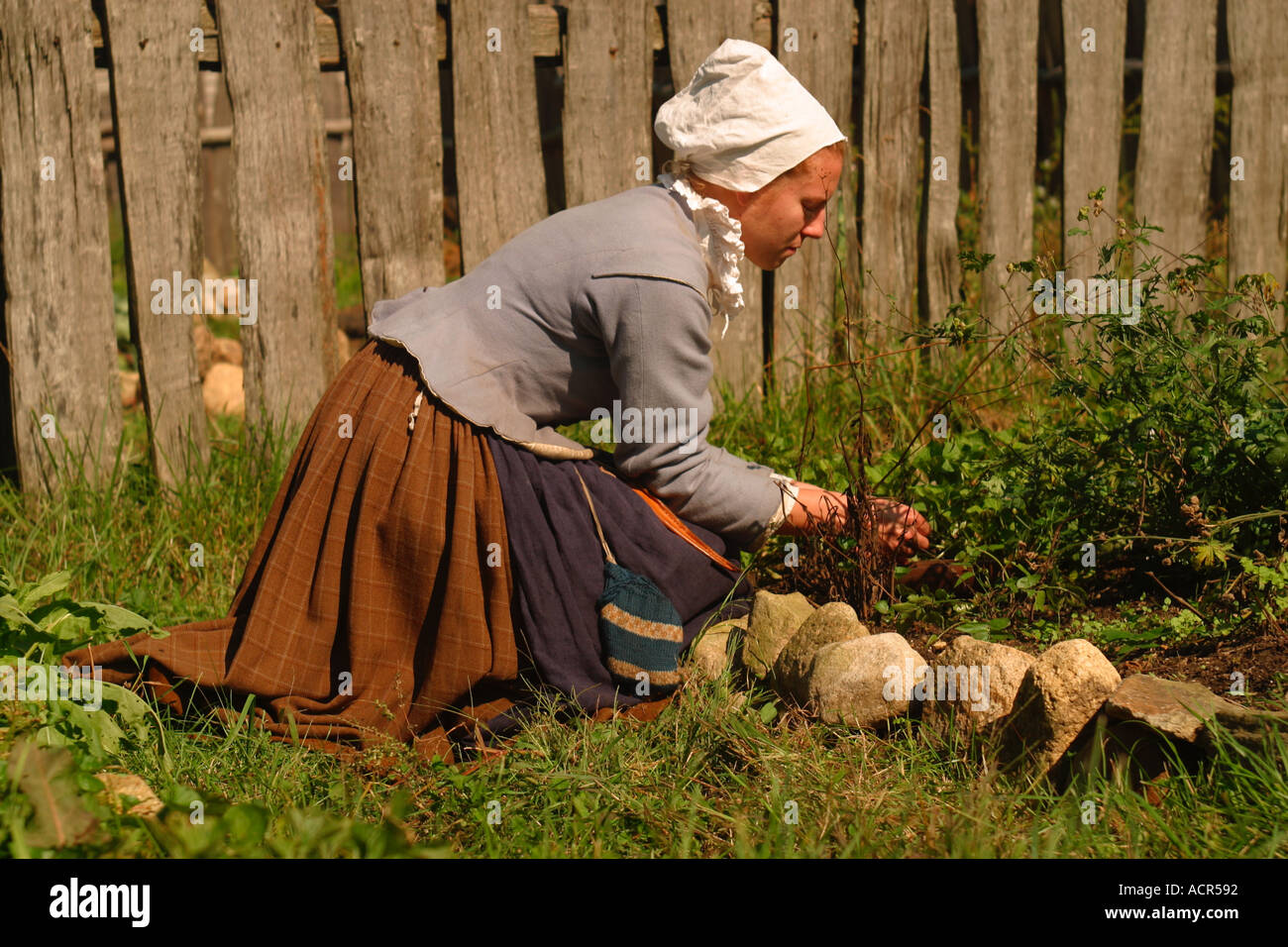 Woman Tending Garden Plimouth Plantation Pilgrim Settlement Plymouth ...
