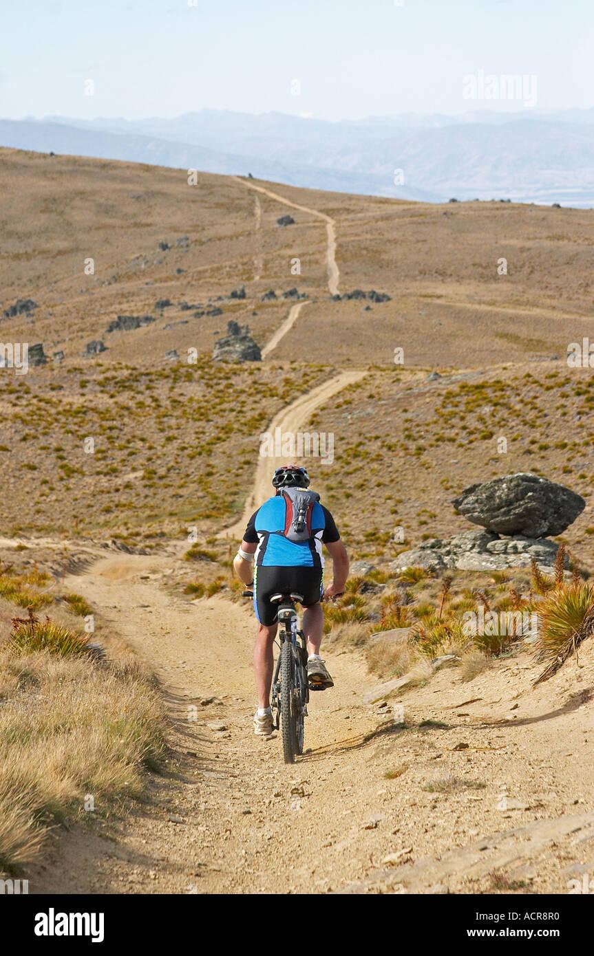 Mountain Bikers Carrick Track Carrick Range Central Otago South Island New Zealand Stock Photo