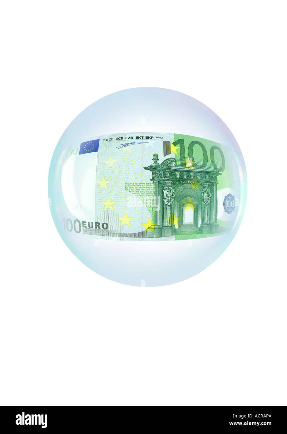 soap bubble with 100 Euro Seifenblase mit 100 Euro Stock Photo