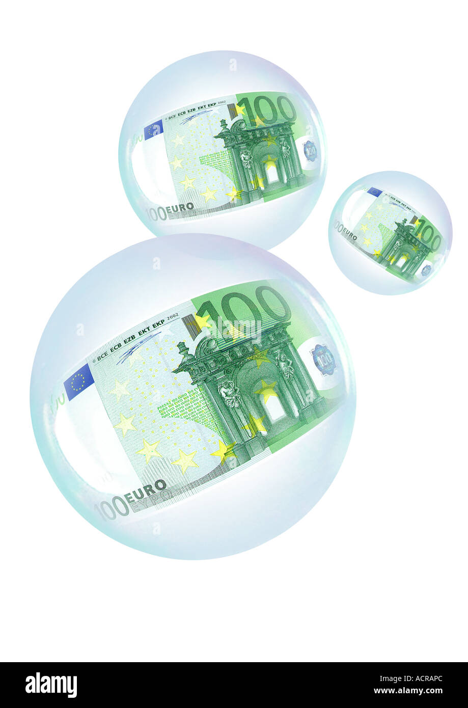 soap bubbles with 100 Euro Seifenblasen mit 100 Euro Stock Photo