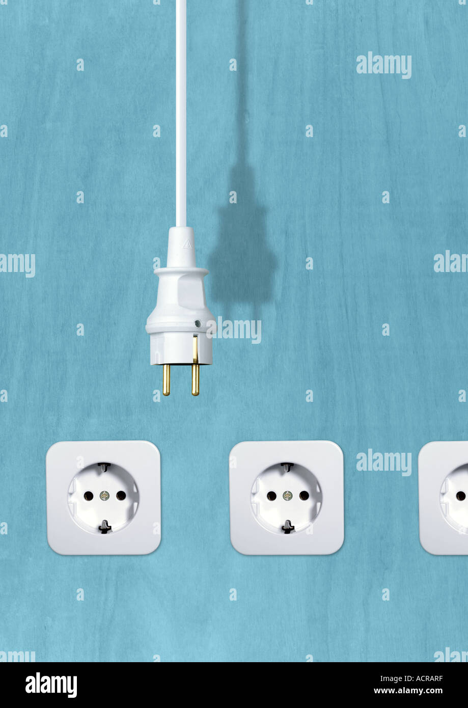 connector and sockets Stecker und Steckdosen - Stock Image