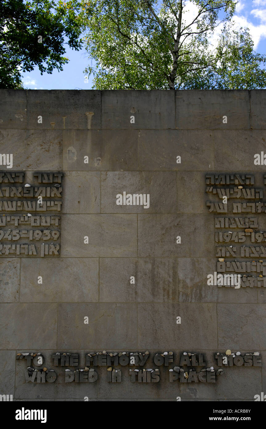 to the meory of all those who died in this place memorial wall stock