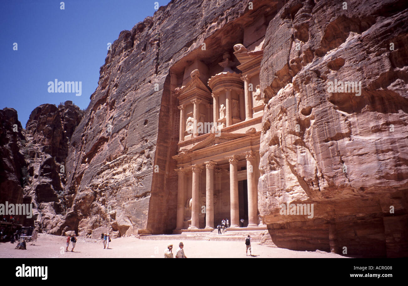 The Treasury Petra s best preserved building and  which was used in the film Indiana Jones and the   Last Crusade - Stock Image