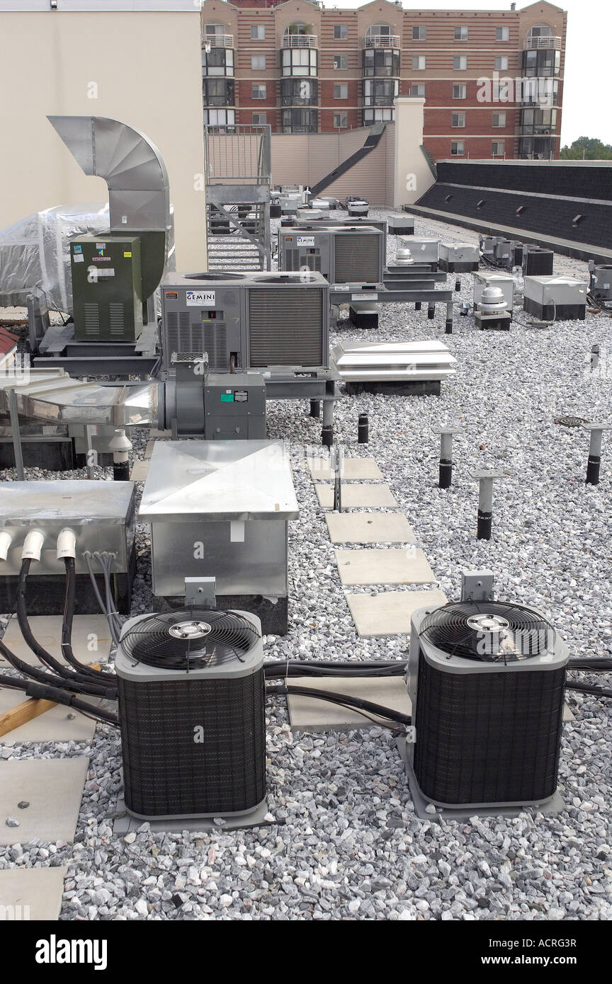 Roof Top Air Conditioners On Commercial Building, Baltimore Maryland USA Stock Photo