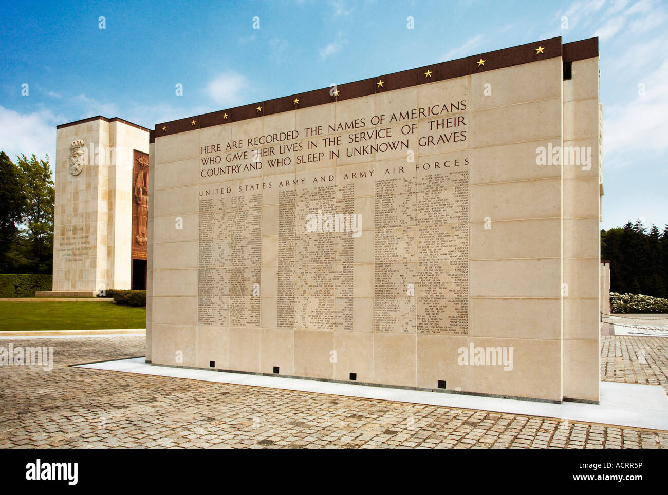 Missing in Action monument at the American Military Cemetery, Hamm, Luxembourg City - Stock Image