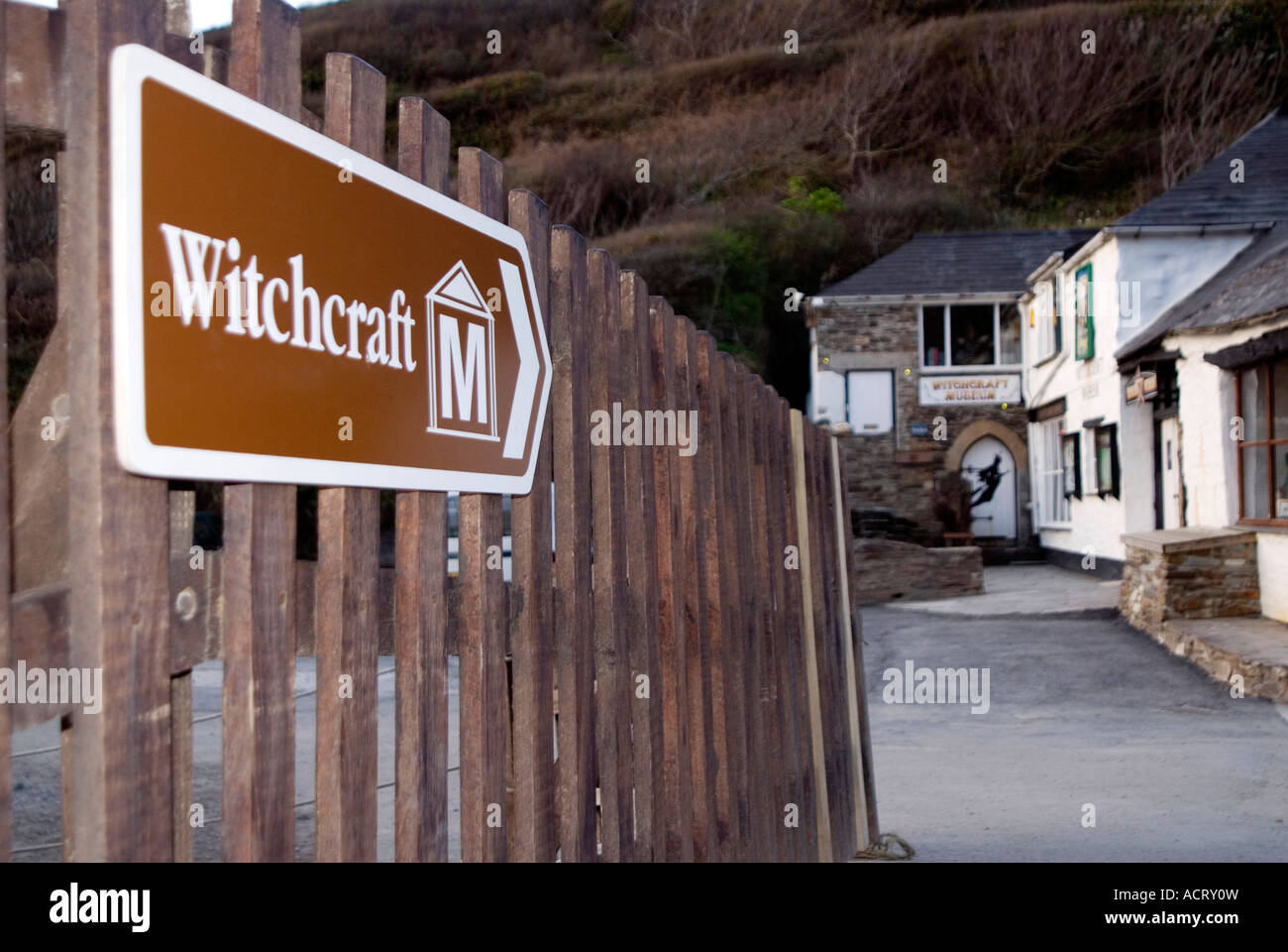 Doug Blane Witchcraft museum Boscastle Cornwall Selling the Wind Boscastle Floods 2004 - Stock Image