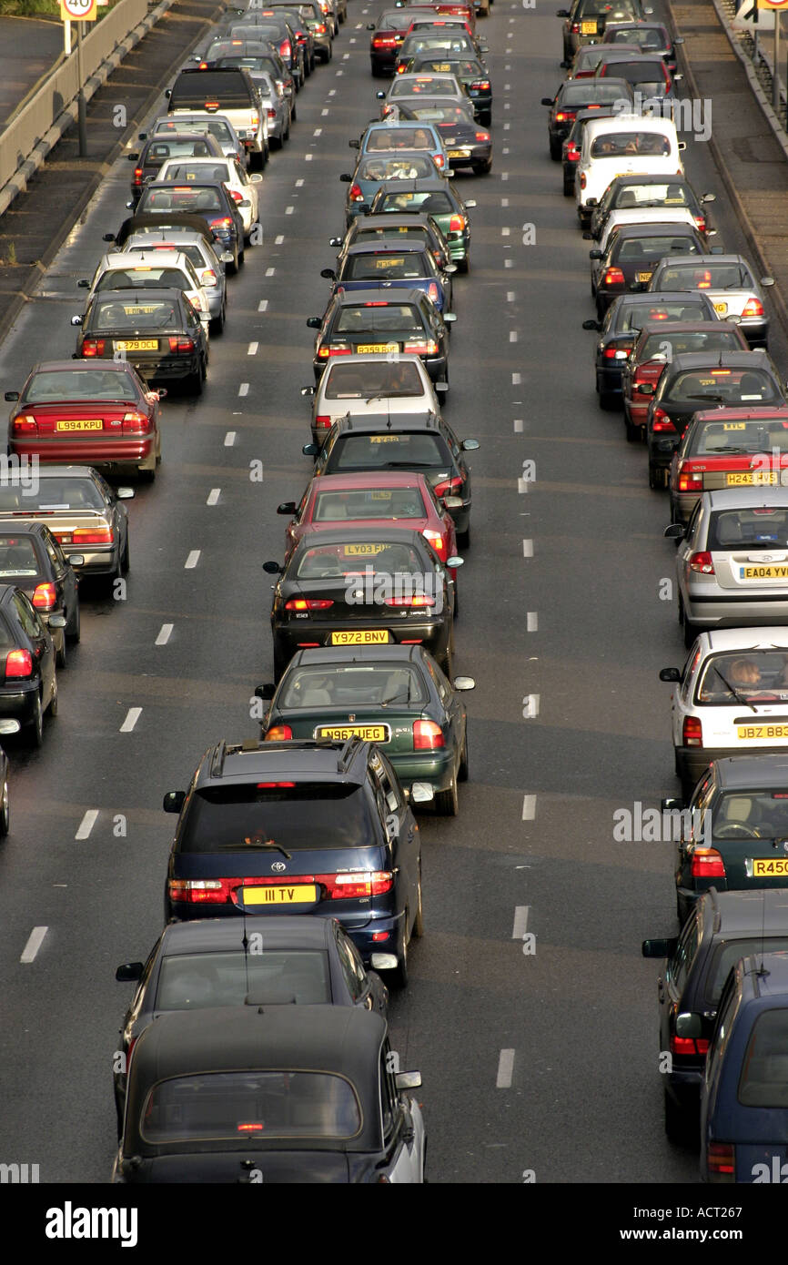 A40 Westway in London congested congestion motorway carriageway highway traffic jam gridlock delay rush hour road car - Stock Image