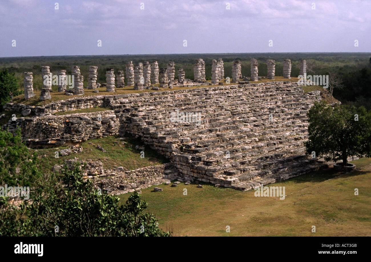 View at the temple of Ake Mexico Central America - Stock Image