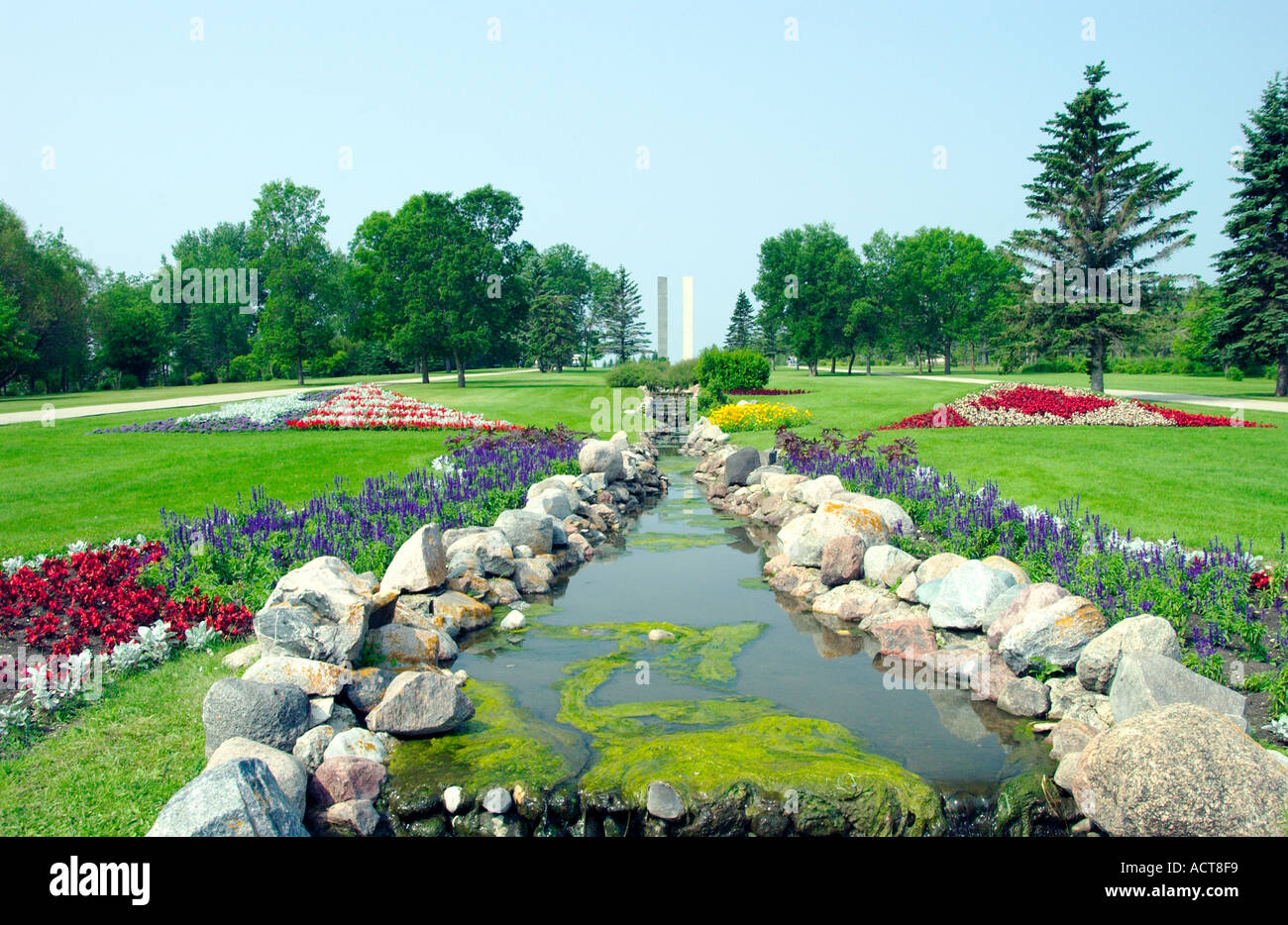 The International Peace Garden formal gardens near Bottineau North Dakota USA