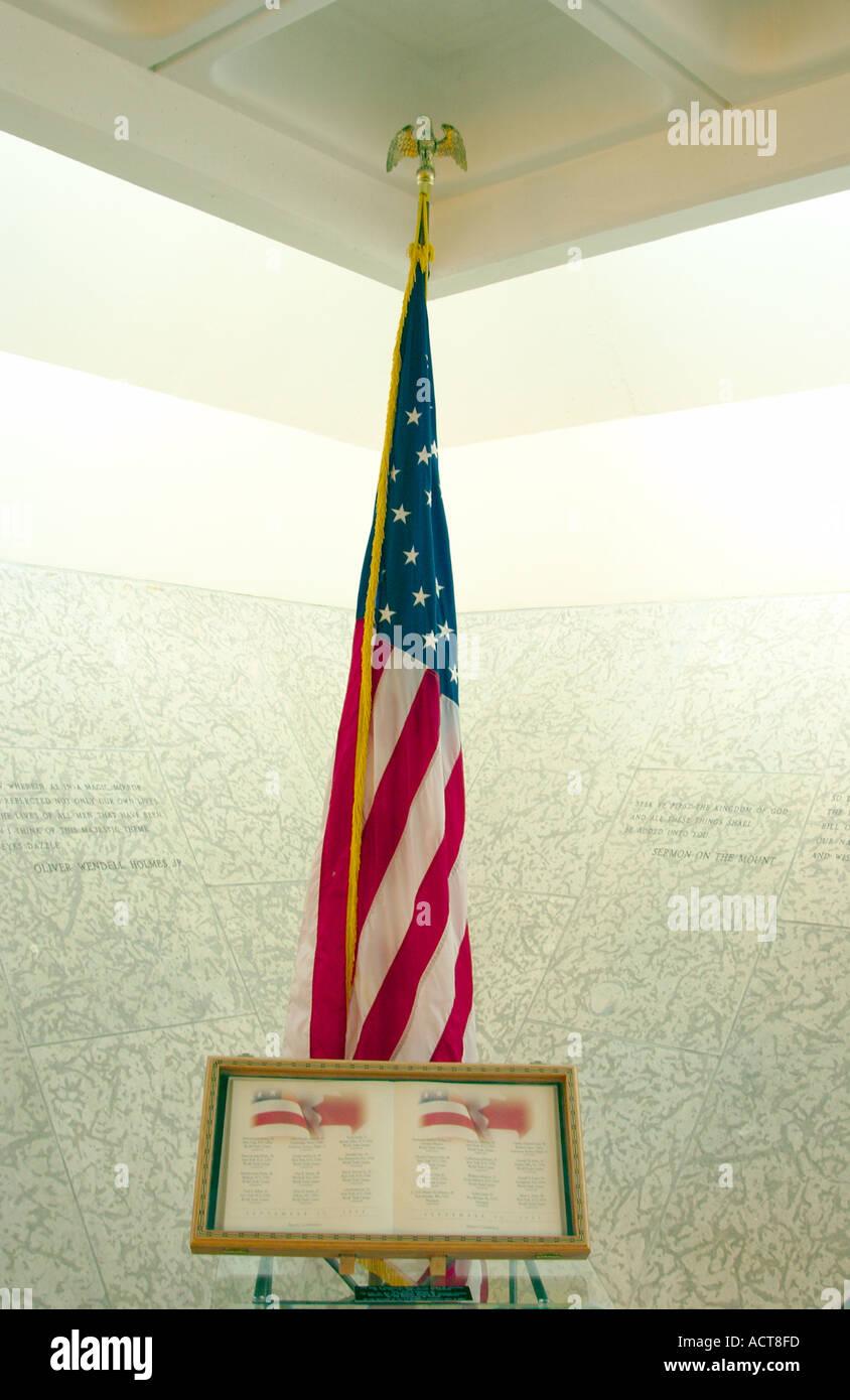 The 911 memorial at the Peace chapel in the International Peace Gardens near Bottineau North Dakota USA - Stock Image