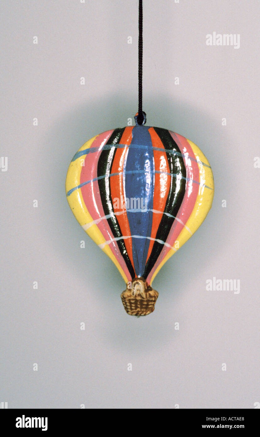 Upavon Wiltshire England Hot Air Balloon Wind Chime Stock Photo