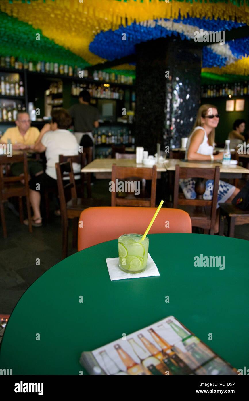 A Glass of the Brazilian drink Caipirinha at The Academia da Cachaça Leblon Rio de Janeiro Brazil - Stock Image