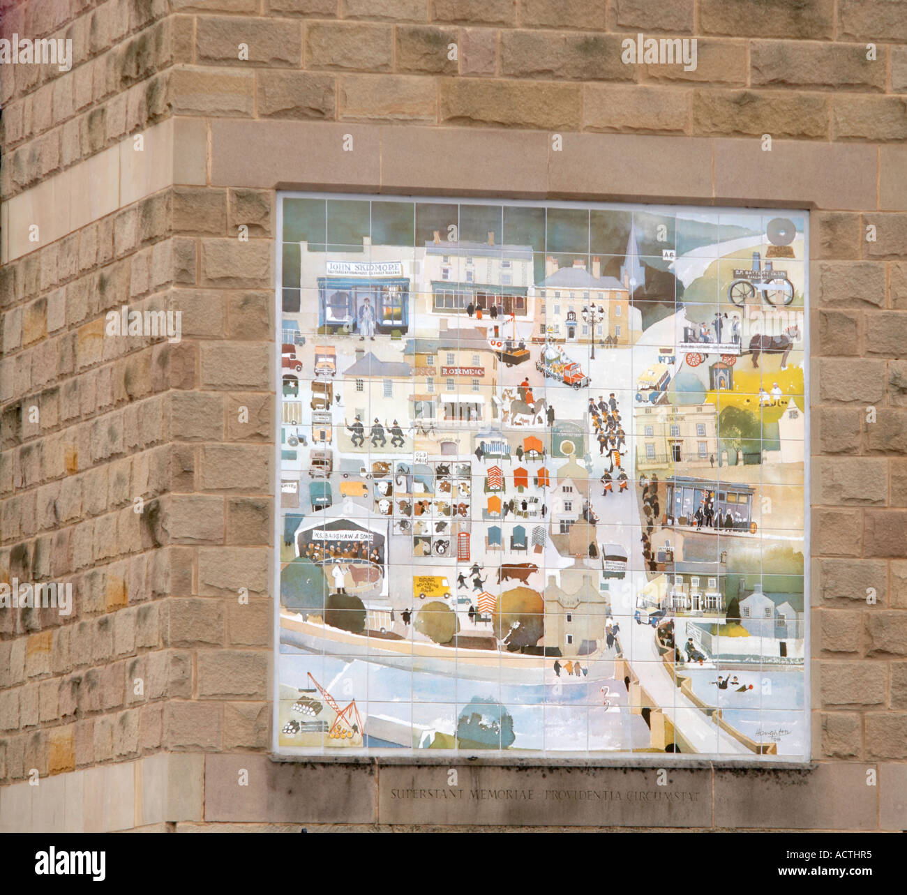Tiled map of Bakewell found in Bakewell  in Derbyshire 'Great Britain' - Stock Image