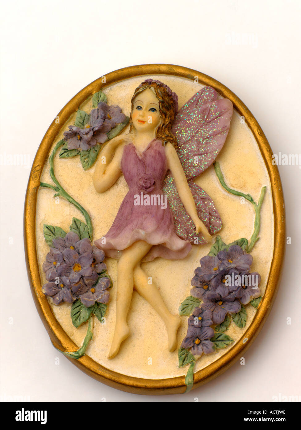 Pottery Cast of a Flower Fairy - Stock Image