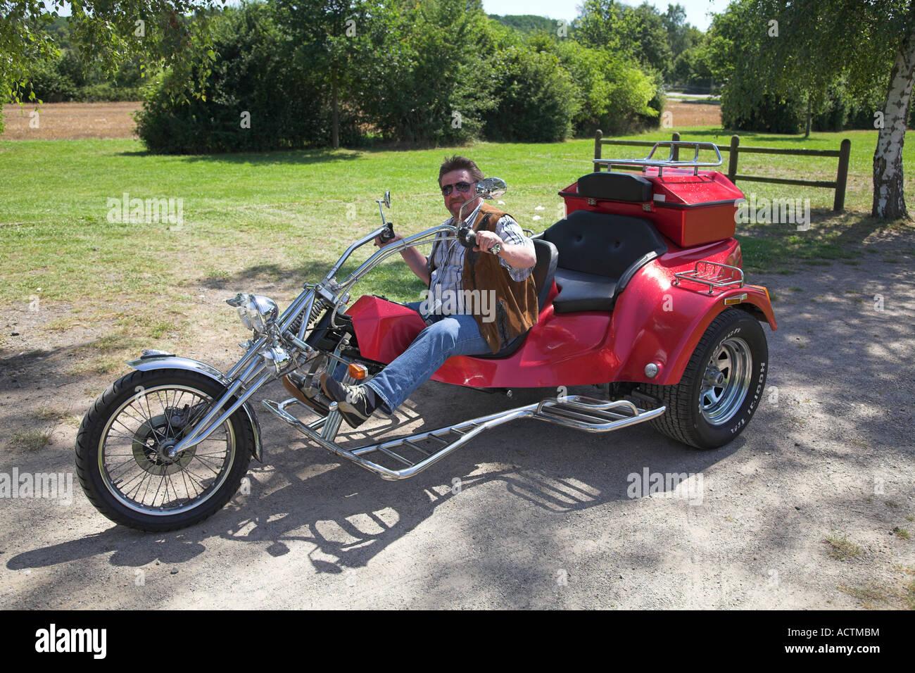 A three-wheel motorcycle. - Stock Image
