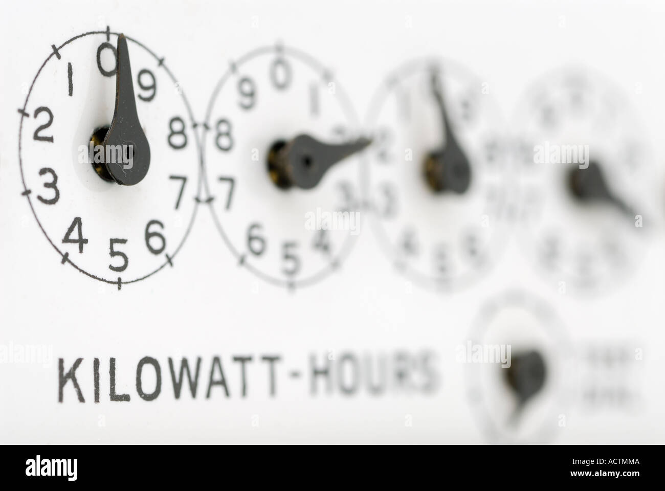 Close up of dials showing kilowatt hours on an electric hydro meter - Stock Image