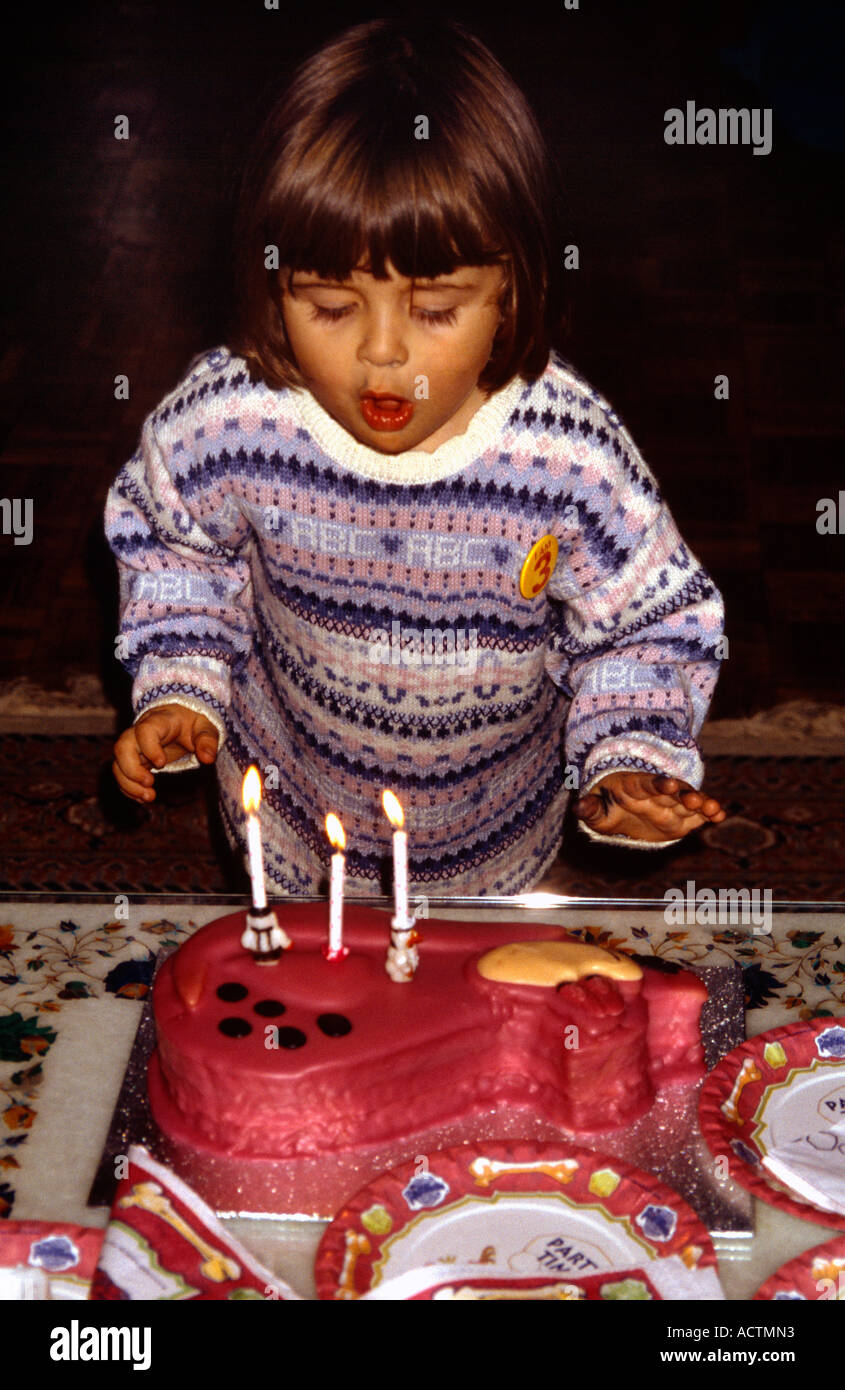 Superb Birthday Cake 3 Year Old Girl Blowing Out Candles Stock Photo Funny Birthday Cards Online Overcheapnameinfo