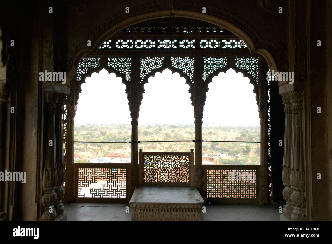 Open and richly ornamented hall city palace Karauli Rajasthan India Stock Photo