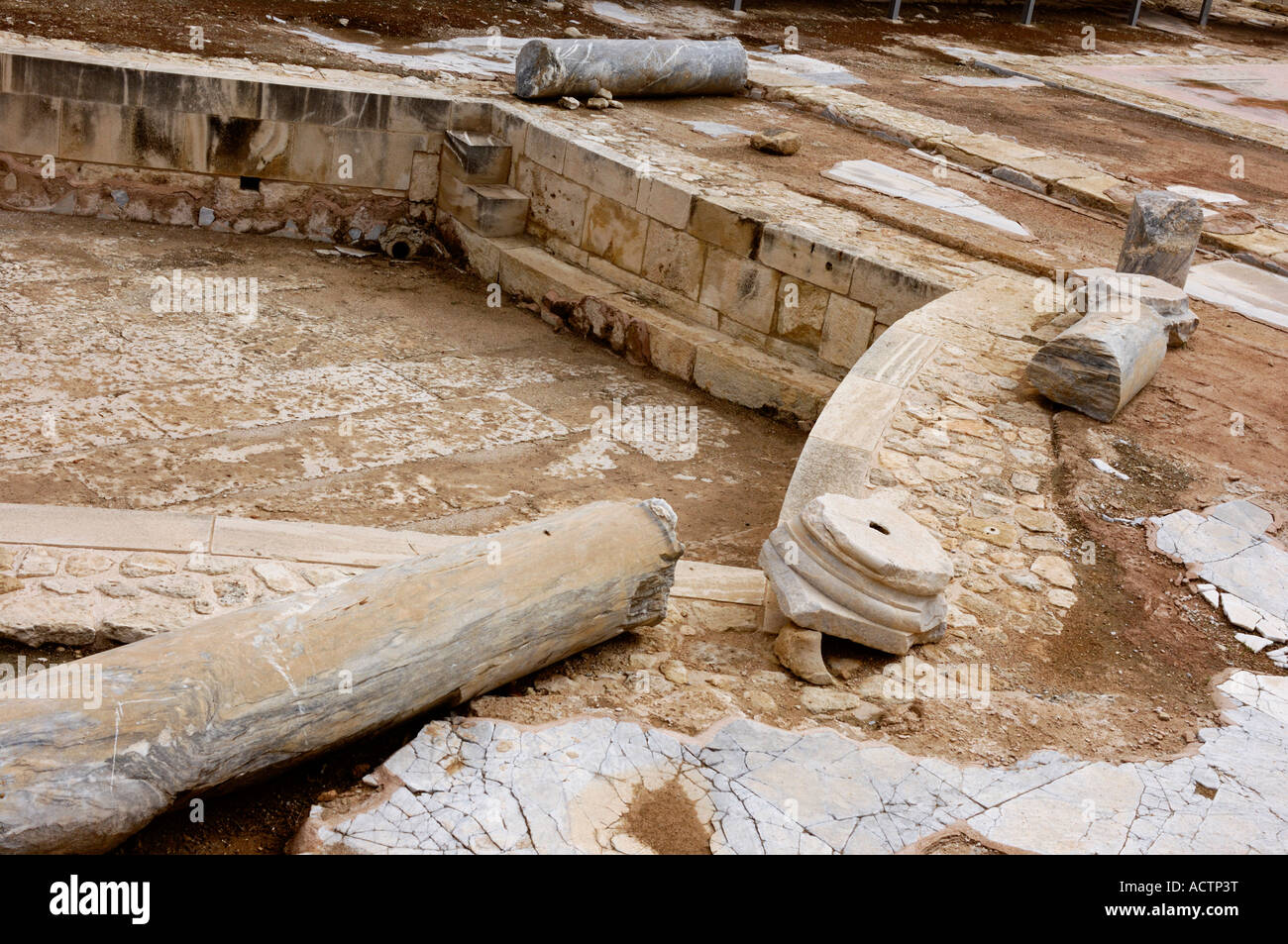 Remains of ancient roman public baths Hexagonal swimming basin Cold ...