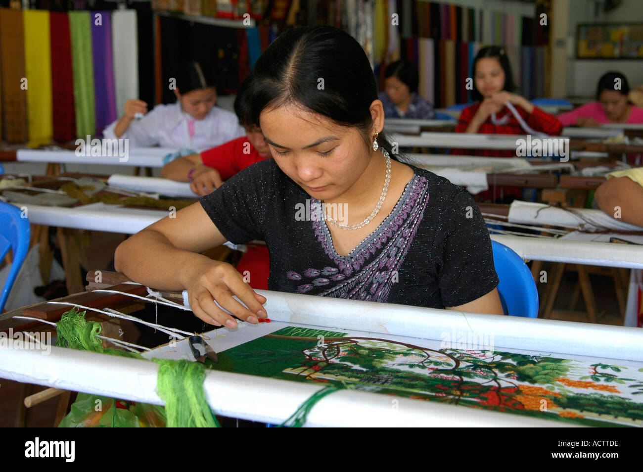 Embroidery training in a rehabilitation centre near Haiphong Vietnam Stock Photo