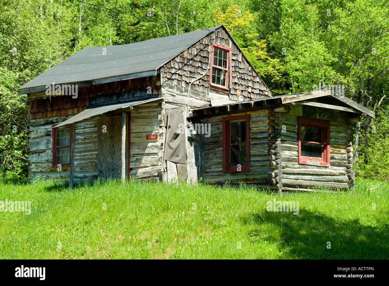 AN OLD LOG CABIN IN THE GREENS OF UPPER PENINSULA OF