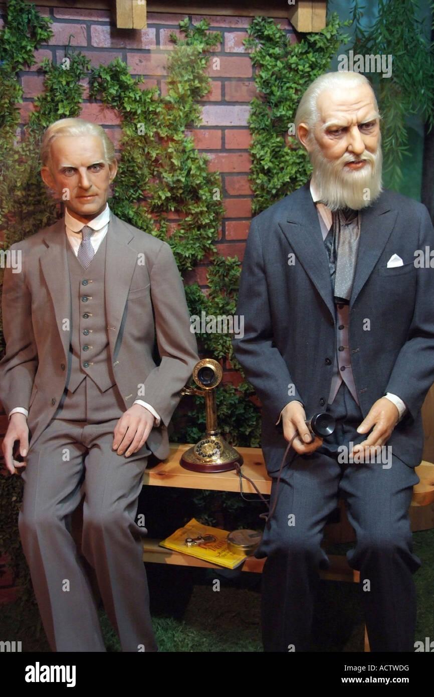 WAX EFFIGIES OF THOMAS ALVA EDISON AND ALEXANDER GRAHAM BELL SHOWN ...