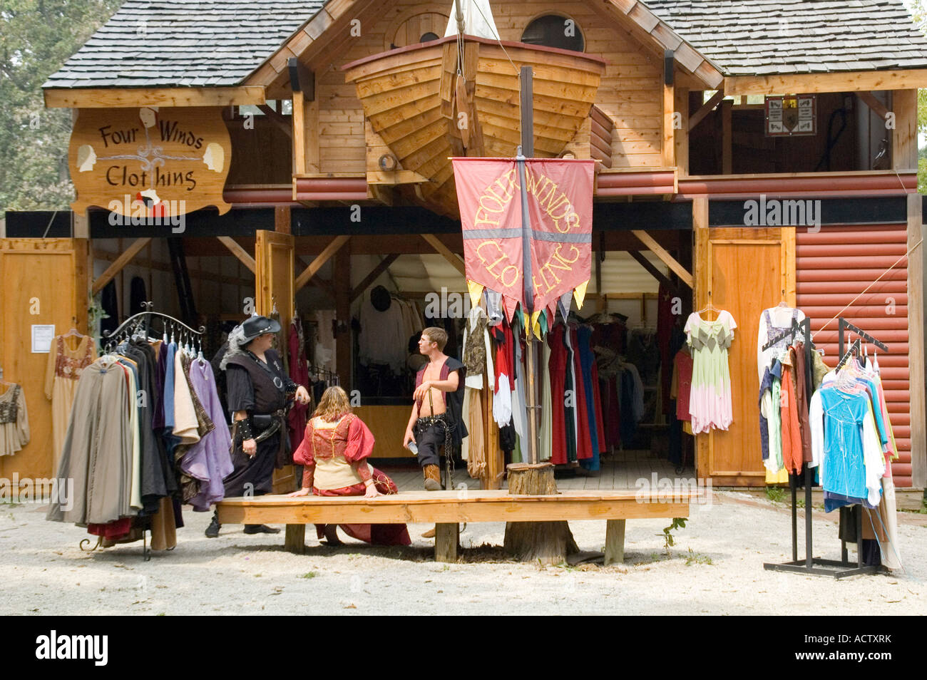 7829e1ec260 A STORE MADE AS OLD PIRATE BOAT IS SELLING MEDIEVAL CLOTHES AT RENAISSANCE  FAIR
