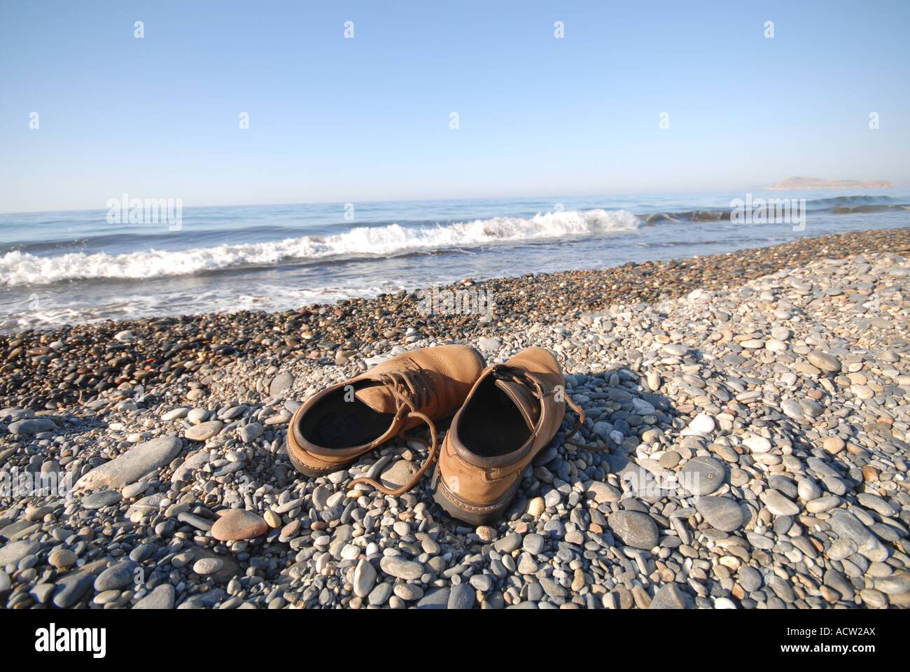 6043183d5d50 CRETE Shoes on the beach at Maleme near Hania Stock Photo  13231585 ...