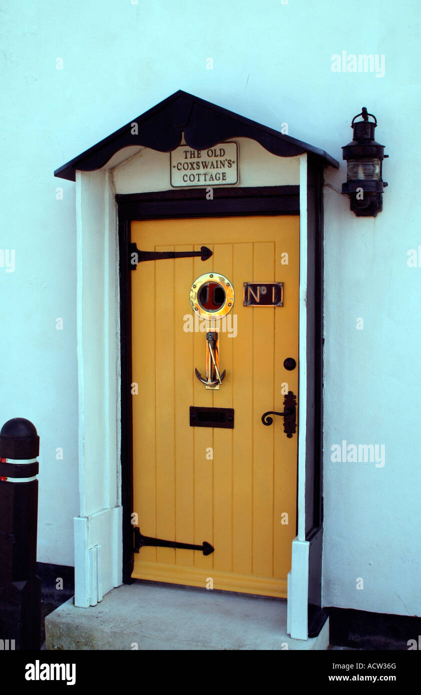 Front door of a nautical theme cottage West country seaside town England UK & Front door of a nautical theme cottage West country seaside town ...