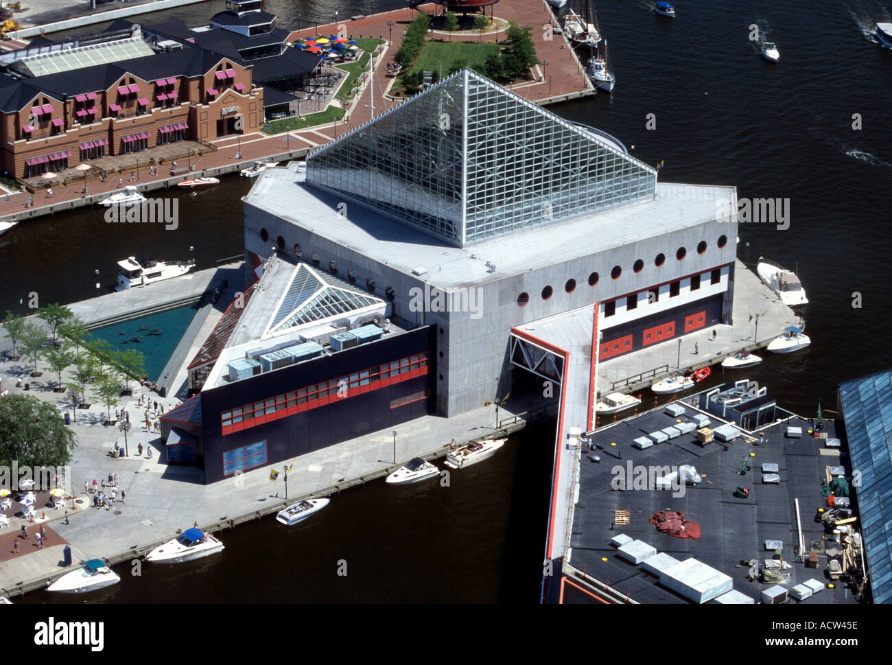 Aerial View of National Aquarium Baltimore Maryland USA - Stock Image