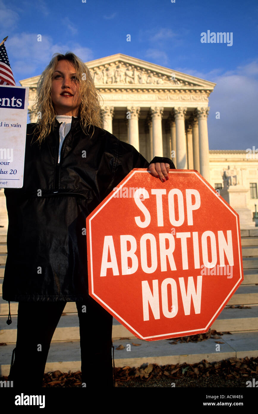 Anti Abortion protester at the US Supreme Court Washington DC Model Released - Stock Image