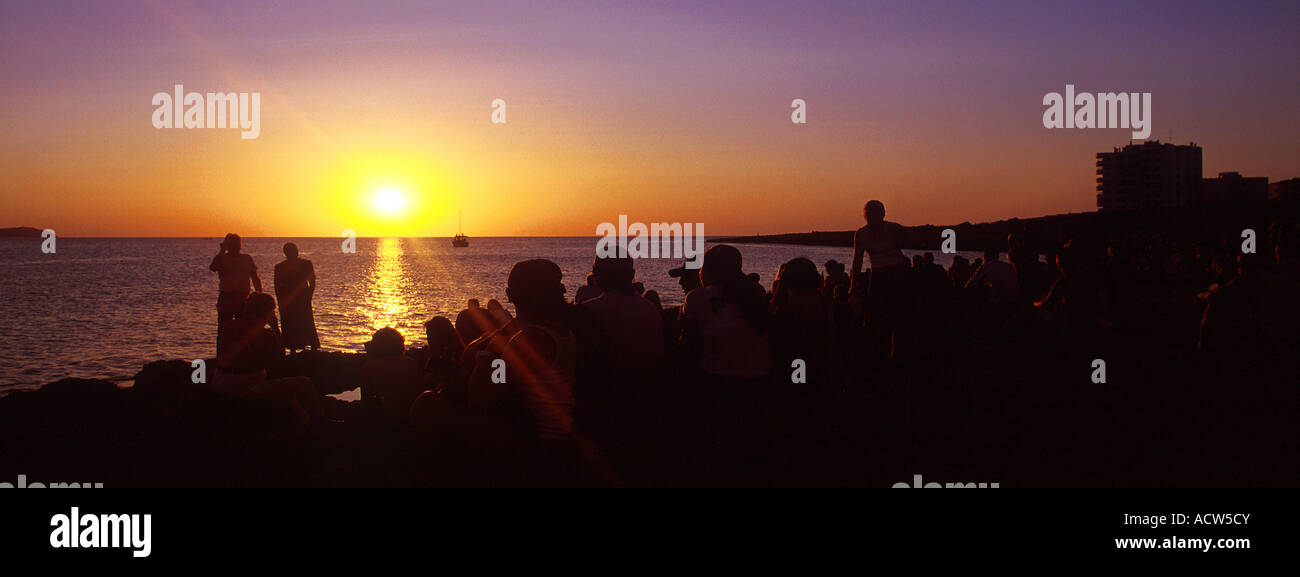 Ibiza Sunset San Antonio Spain The view from Cafe Del Mar - Stock Image