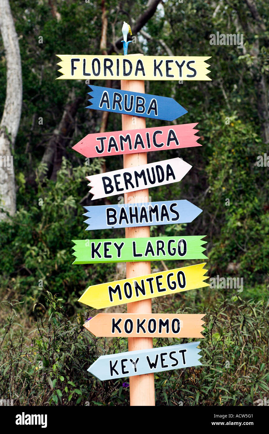 Multiple Destination Sign In The Florida Keys Usa Stock