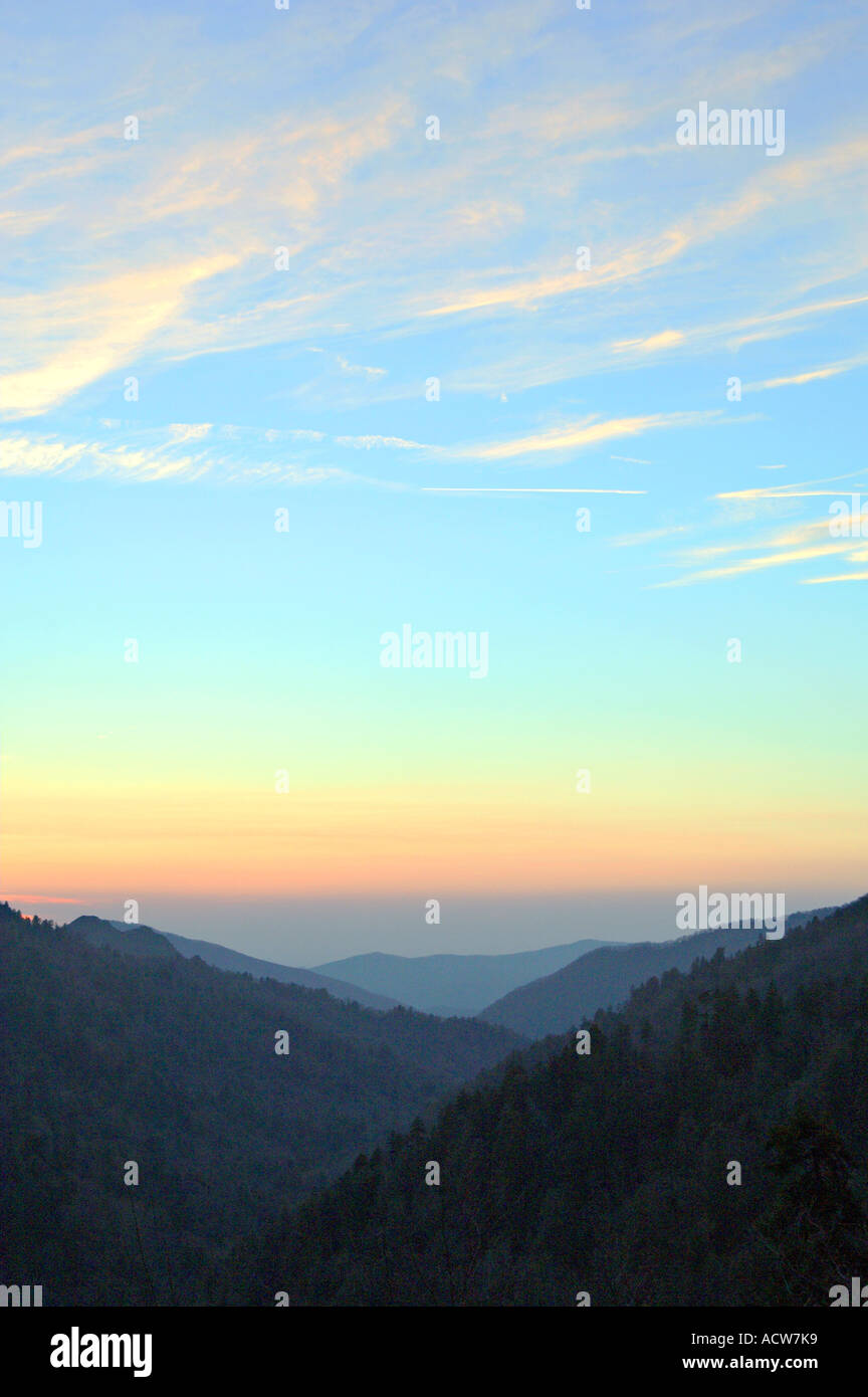 The Great Smoky Mountains at sunrise from Ober Gatlinburg, Tennessee, USA. Stock Photo