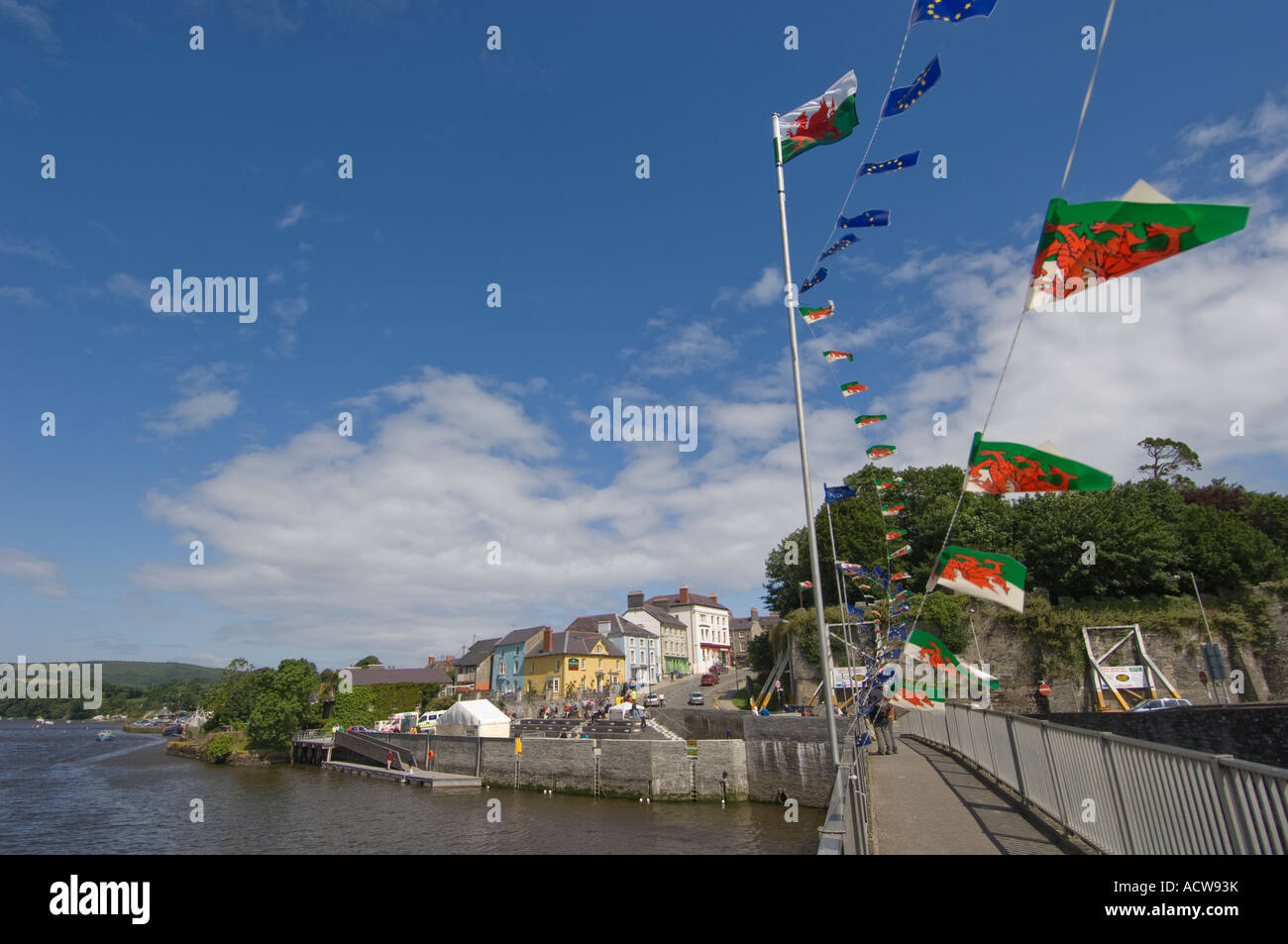 Cardigan Aberteifi Ceredigion west wales July 5 2007 - Prince of Wales  quay on the river Teifi Stock Photo
