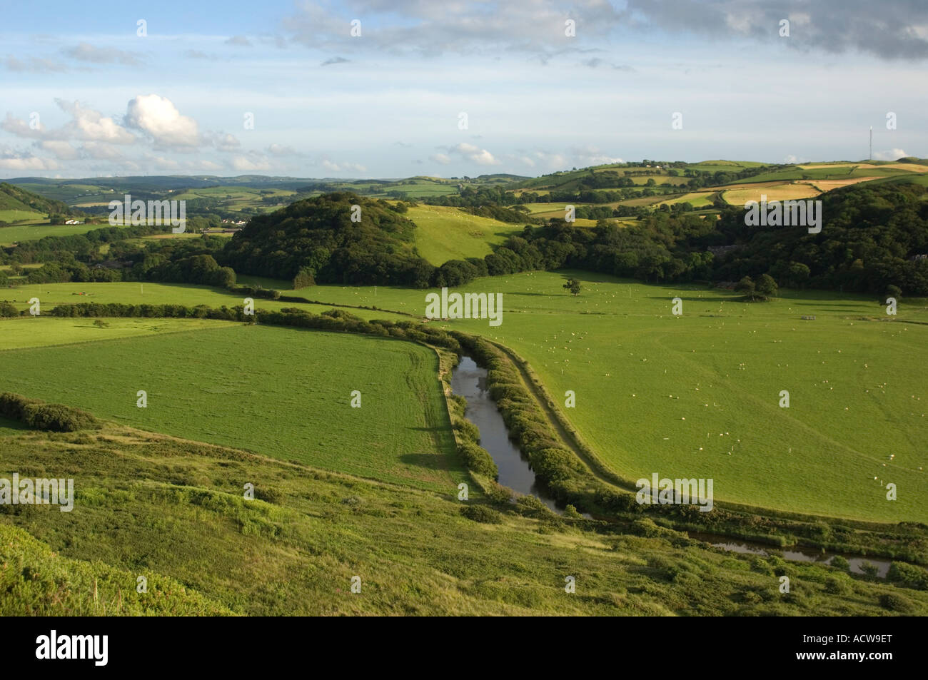 The river Ystwyth seen from Pen Dinas iron age hillfort aberystwyth ceredigion west wales - flowing through green - Stock Image