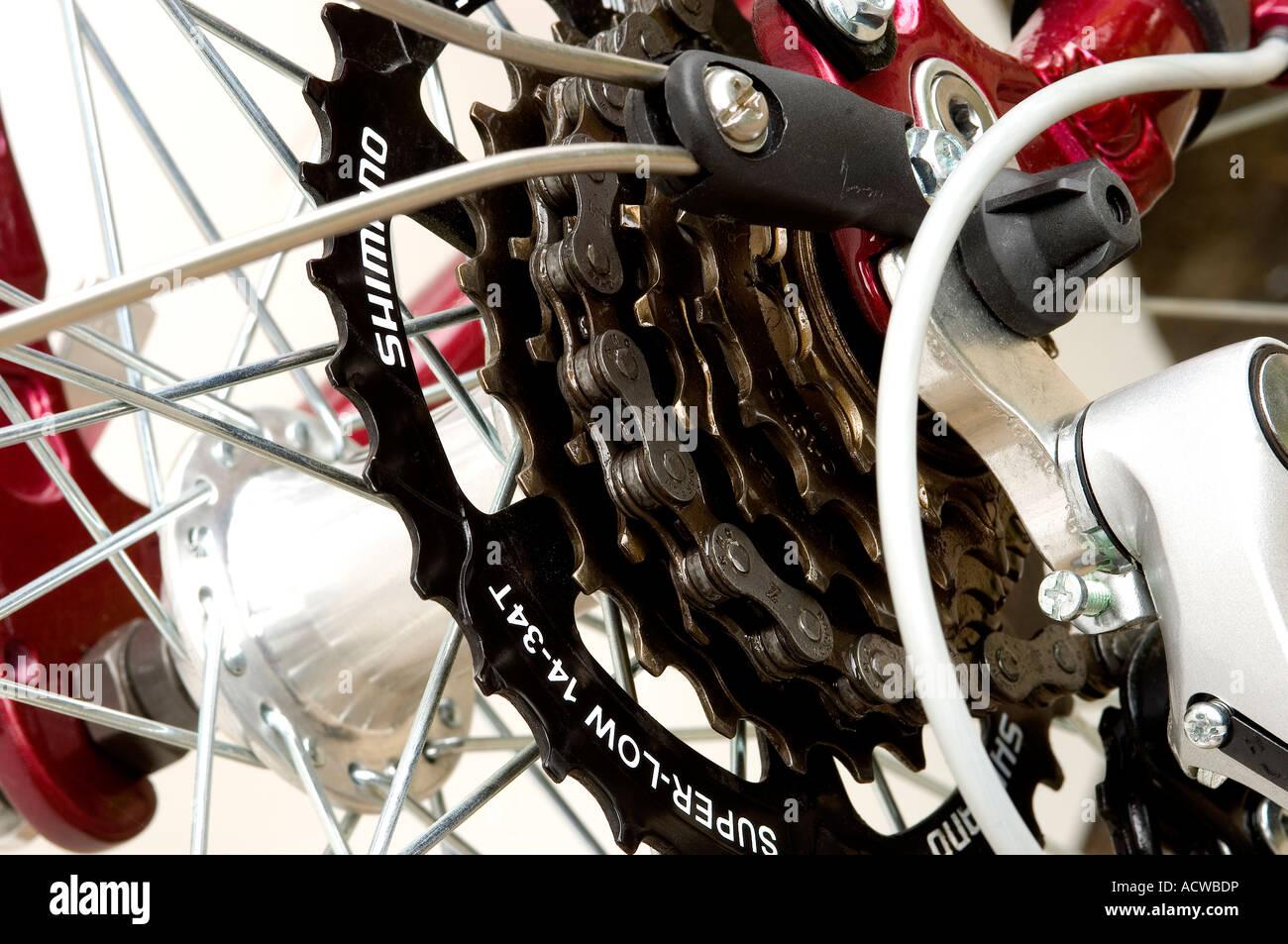 Close up of bike derailleur Stock Photo
