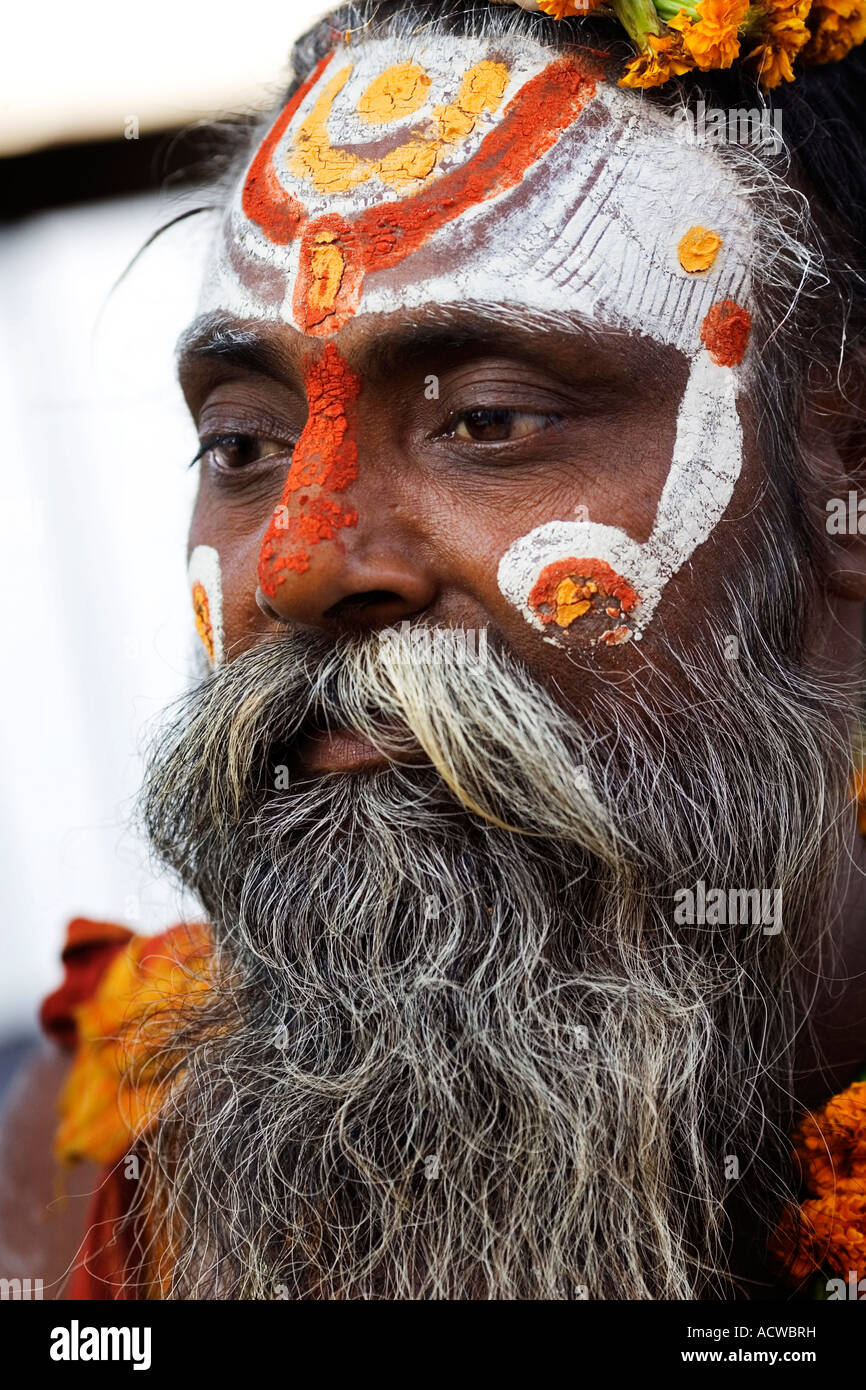 Painted holy man Varanasi Benares India - Stock Image
