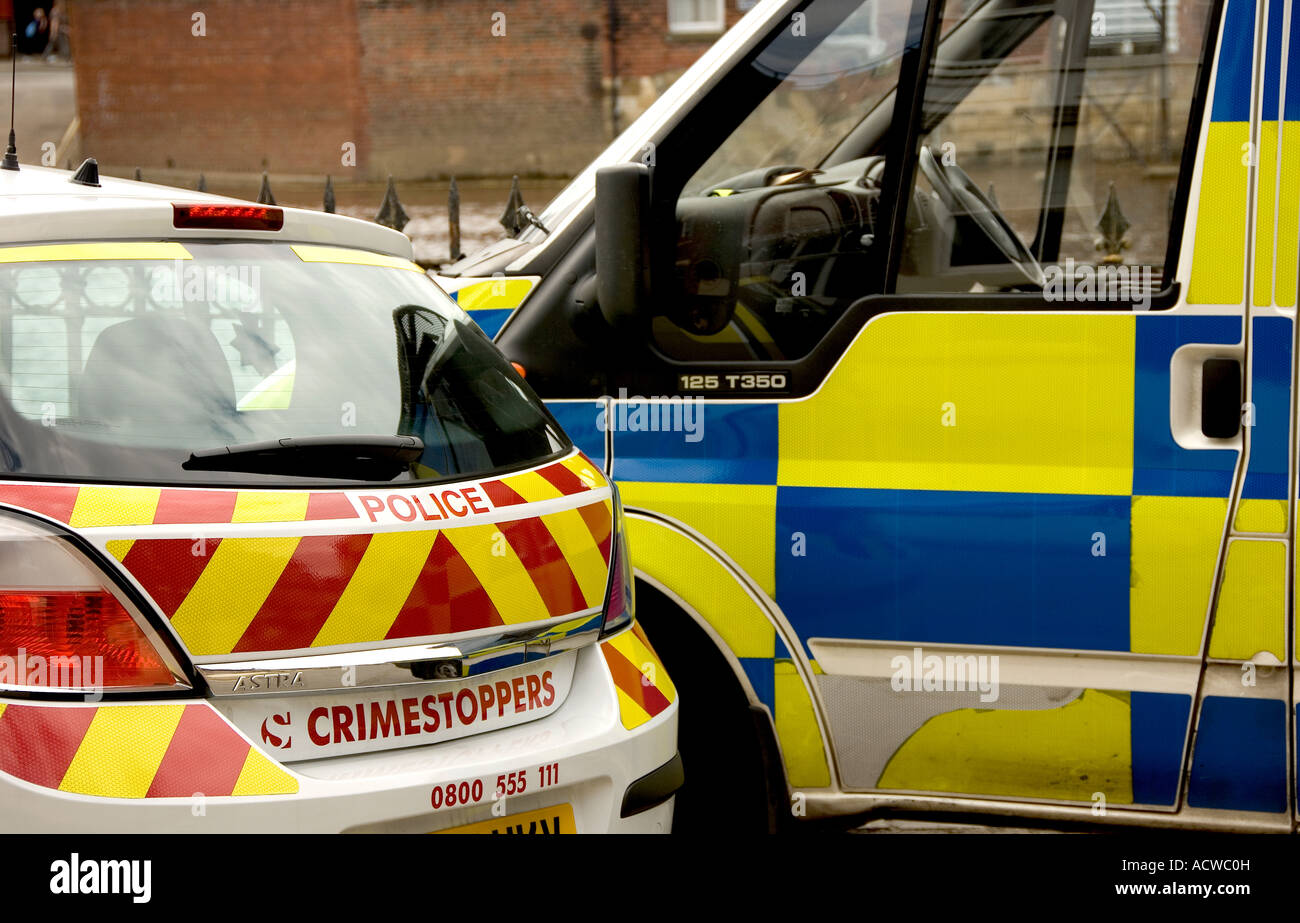 Parked police car and van UK United Kingdom GB Great Britain - Stock Image
