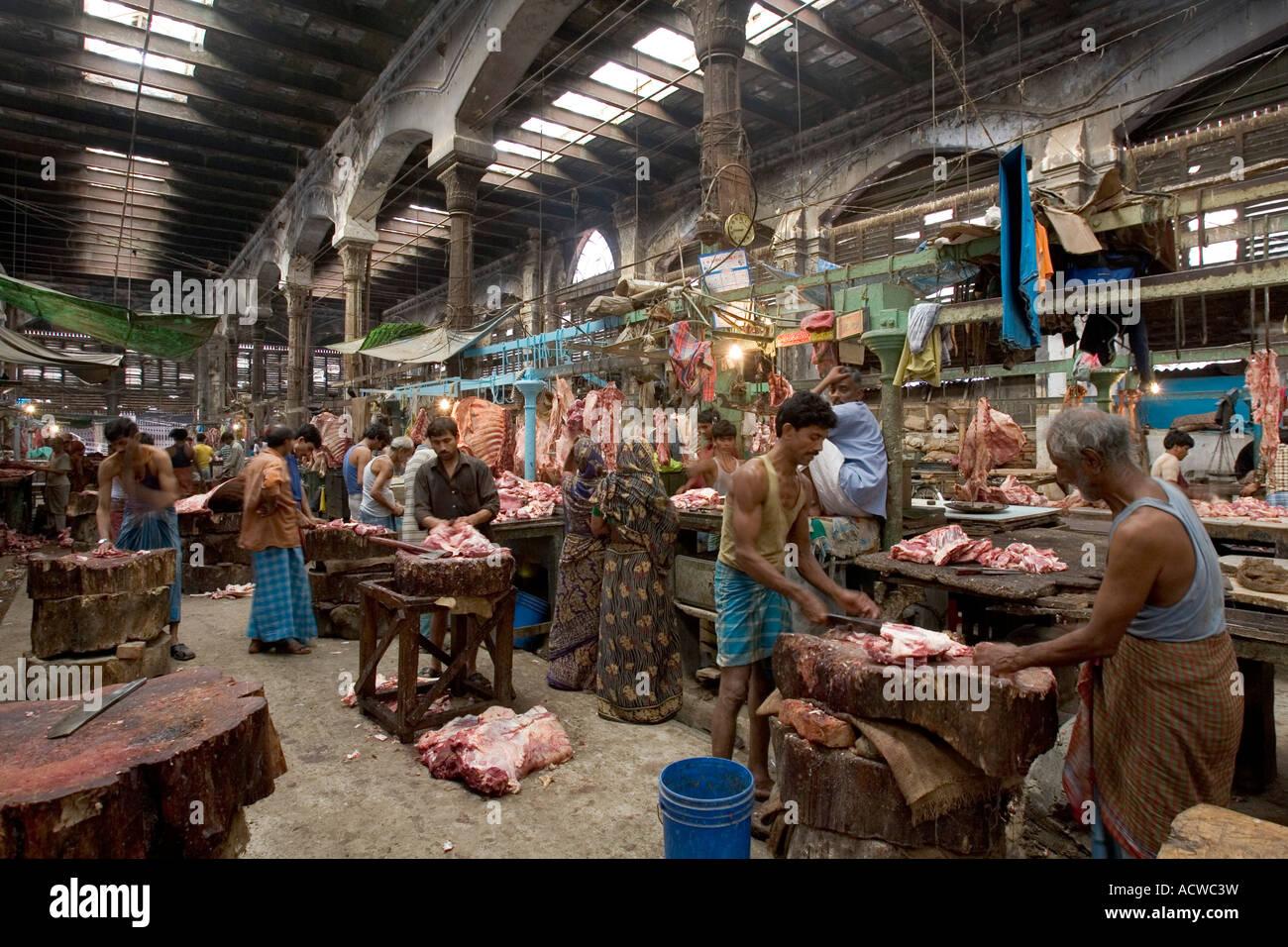 Hogg meat market Calcutta Kolkata India - Stock Image